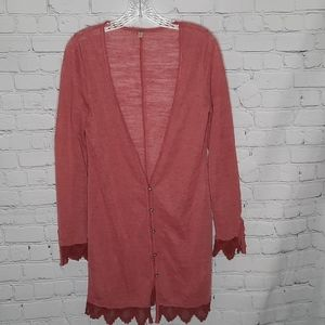 Free People Washed Red Longline Red Cardigan Lace Small